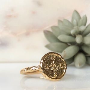 Boho Gypsy Festival Coin Compass Hammered Ring 8